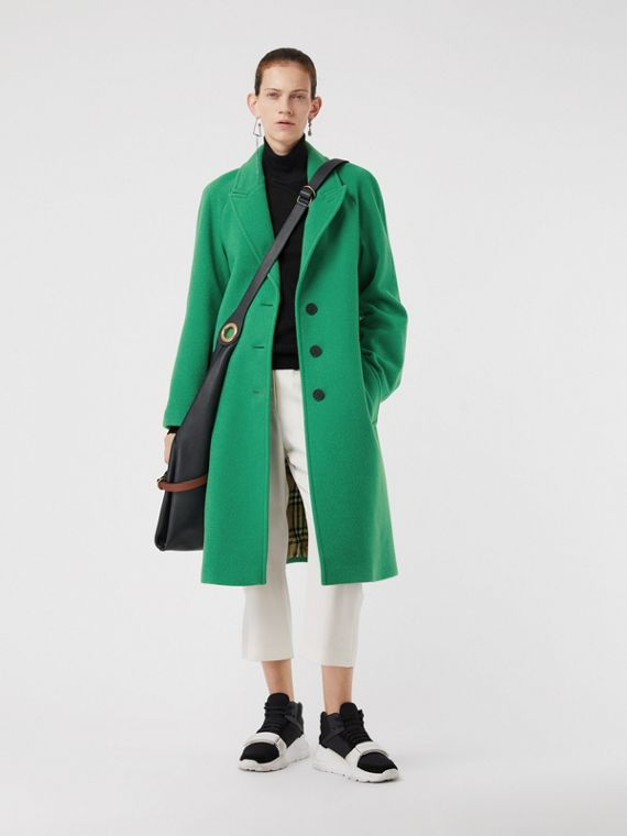 Wool Blend Tailored Coat in Bright Green