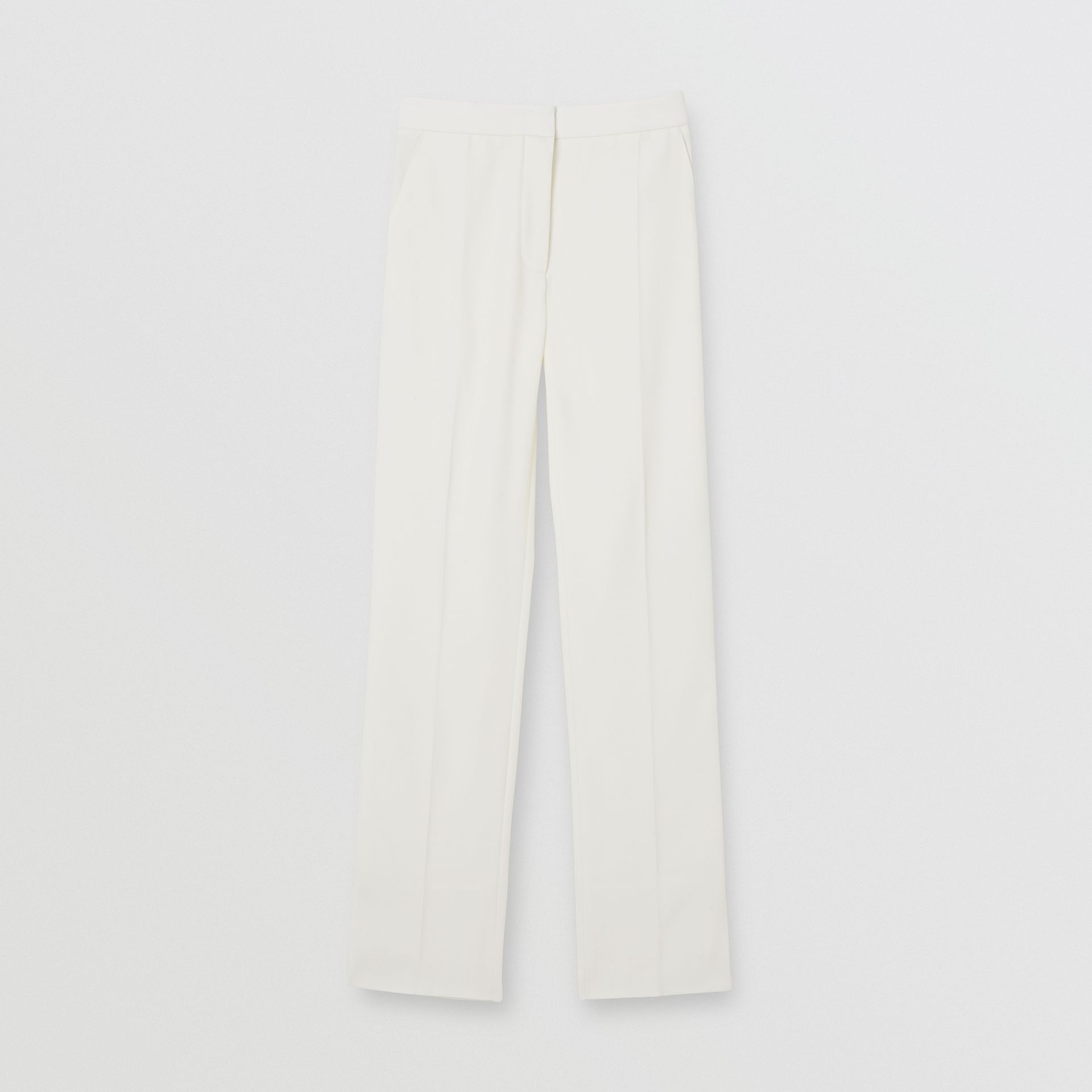 Satin Stripe Detail Wool Tailored Trousers in Natural White - Women | Burberry United Kingdom - gallery image 3