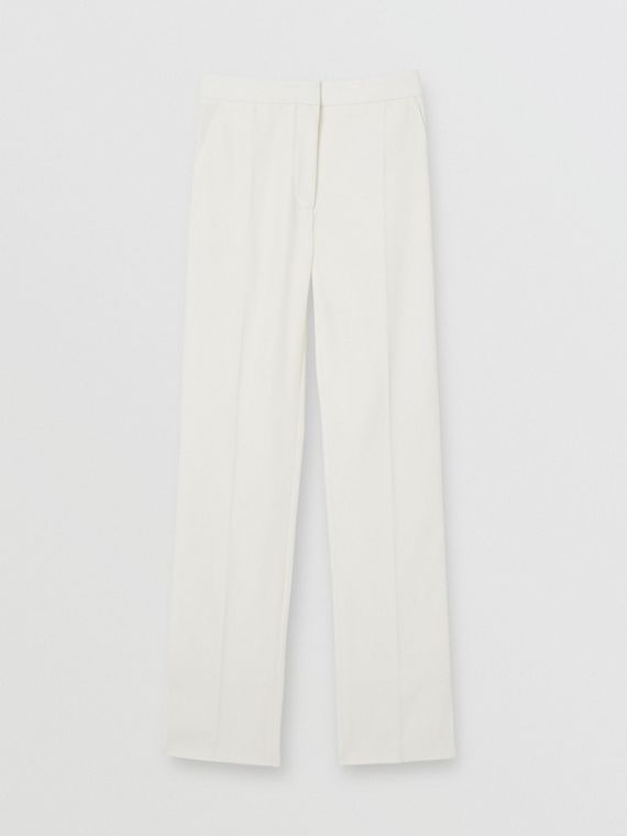 Satin Stripe Detail Wool Tailored Trousers in Natural White