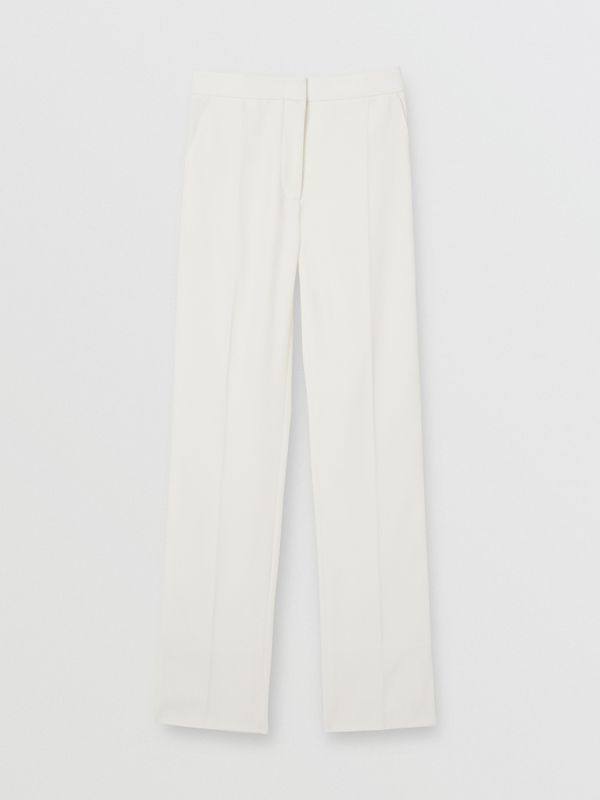 Satin Stripe Detail Wool Tailored Trousers in Natural White - Women | Burberry United Kingdom - cell image 3