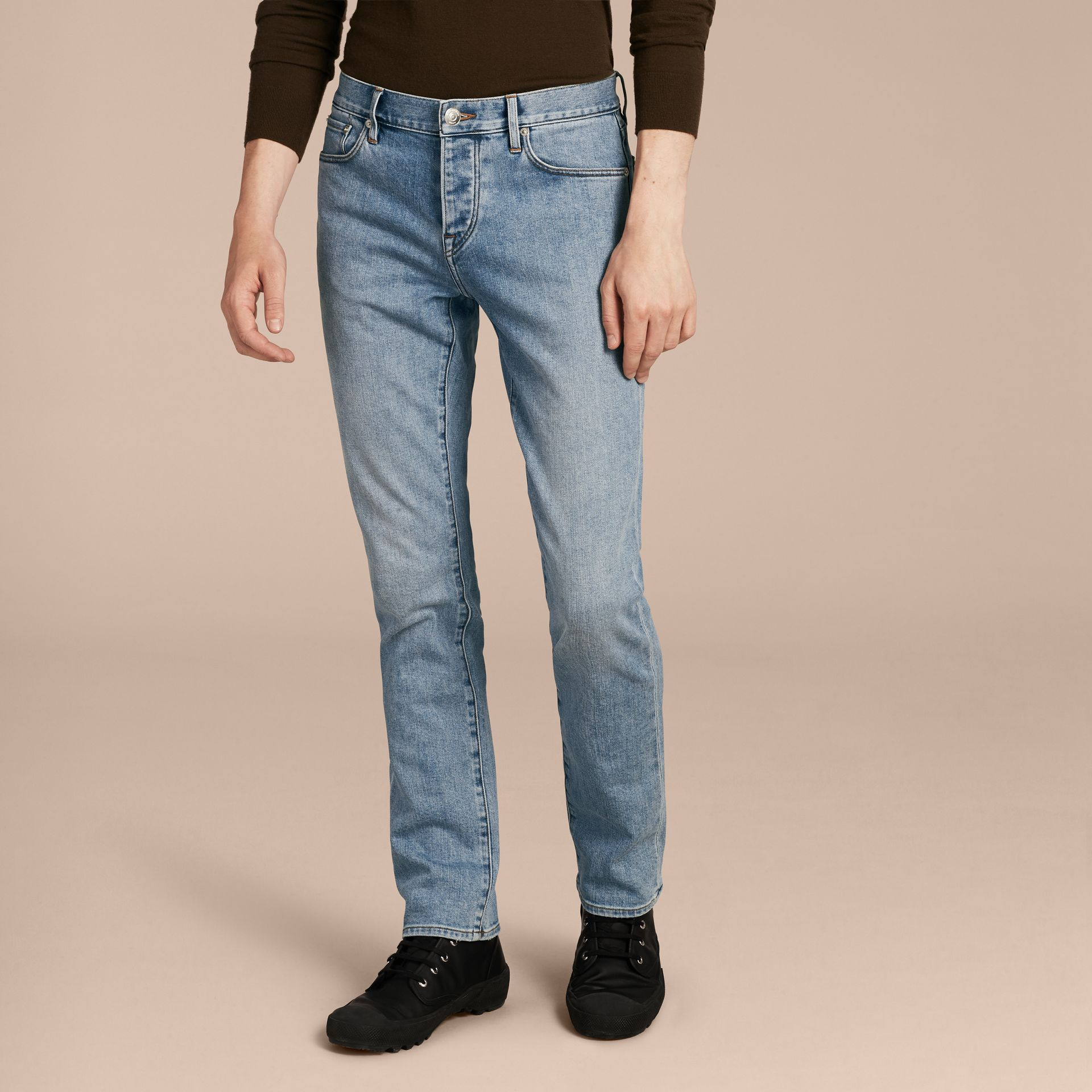 Straight Fit Comfort Stretch Japanese Denim Jeans in Light Indigo - Men | Burberry - gallery image 7