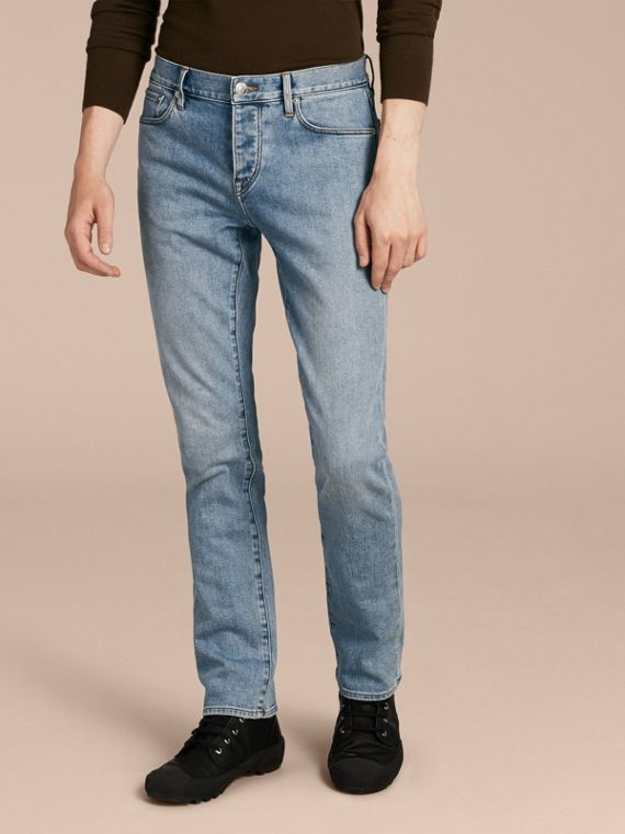 Straight Fit Comfort Stretch Japanese Denim Jeans in Light Indigo