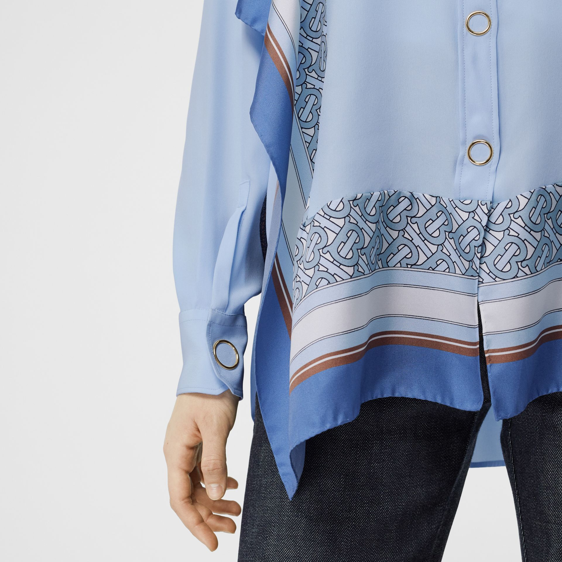 Monogram Print Trim Silk Shirt in Pale Blue - Women | Burberry - gallery image 4