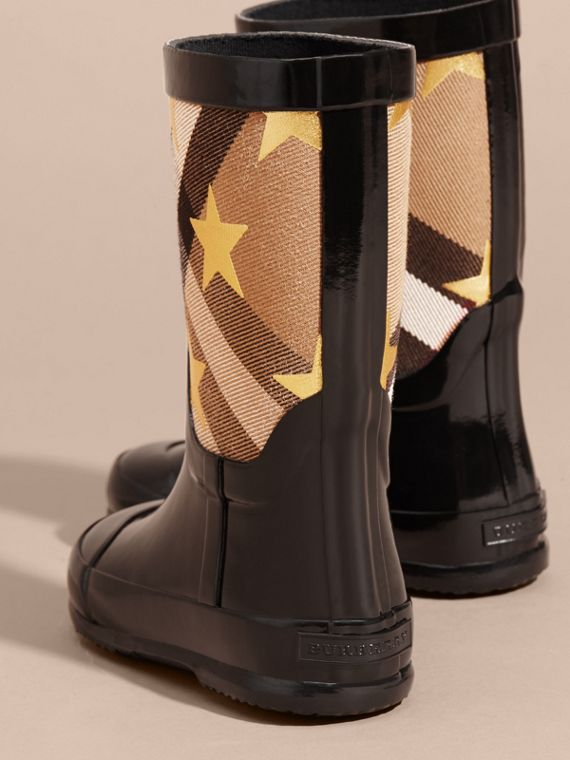 Black Star Print House Check Rain Boots - cell image 3