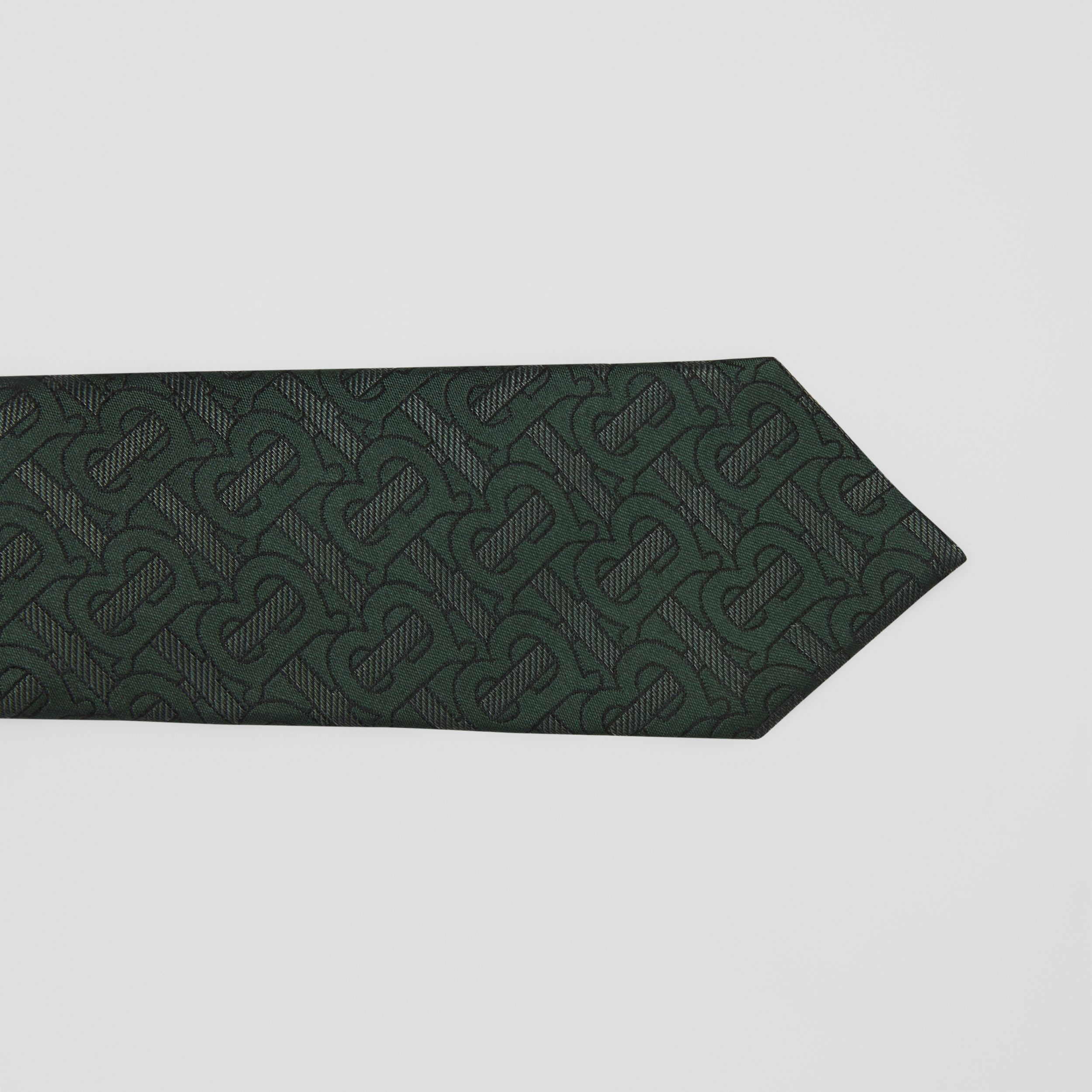 Classic Cut Monogram Silk Blend Jacquard Tie in Dark Forest Green - Men | Burberry - 2