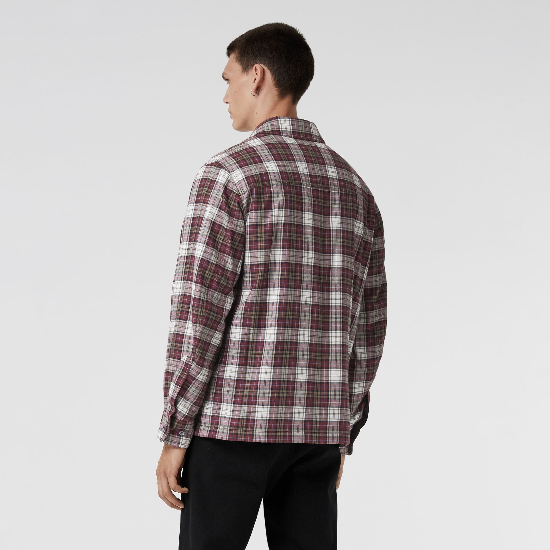 Quilted Check Flannel Shirt in Crimson Red - Men | Burberry - gallery image 2