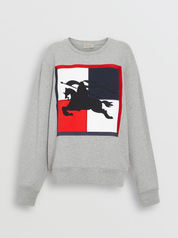 Chequer EKD Cotton Sweatshirt in Pale Grey Melange - Women | Burberry - cell image 3
