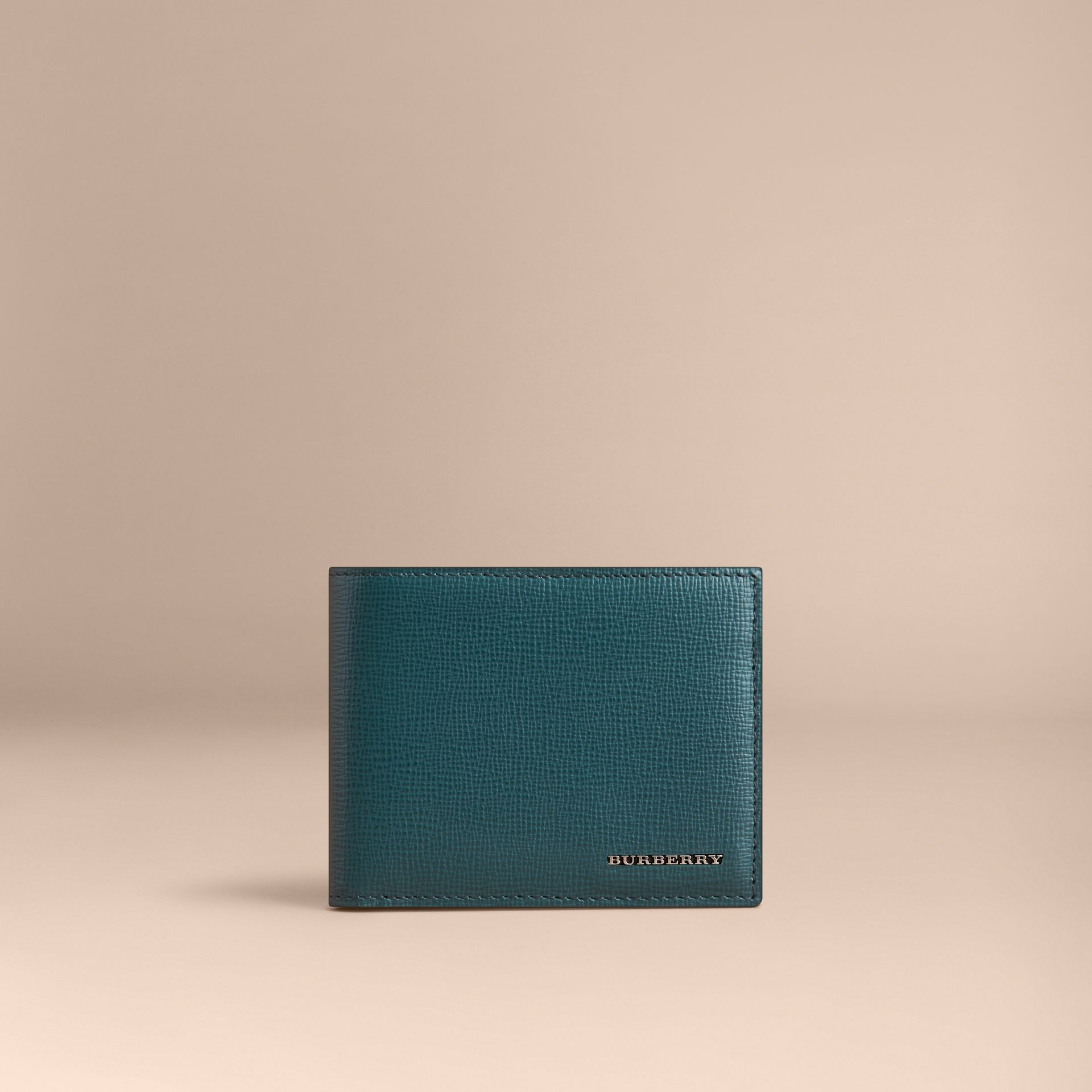 London Leather Bifold Wallet in Dark Teal | Burberry United Kingdom - gallery image 6