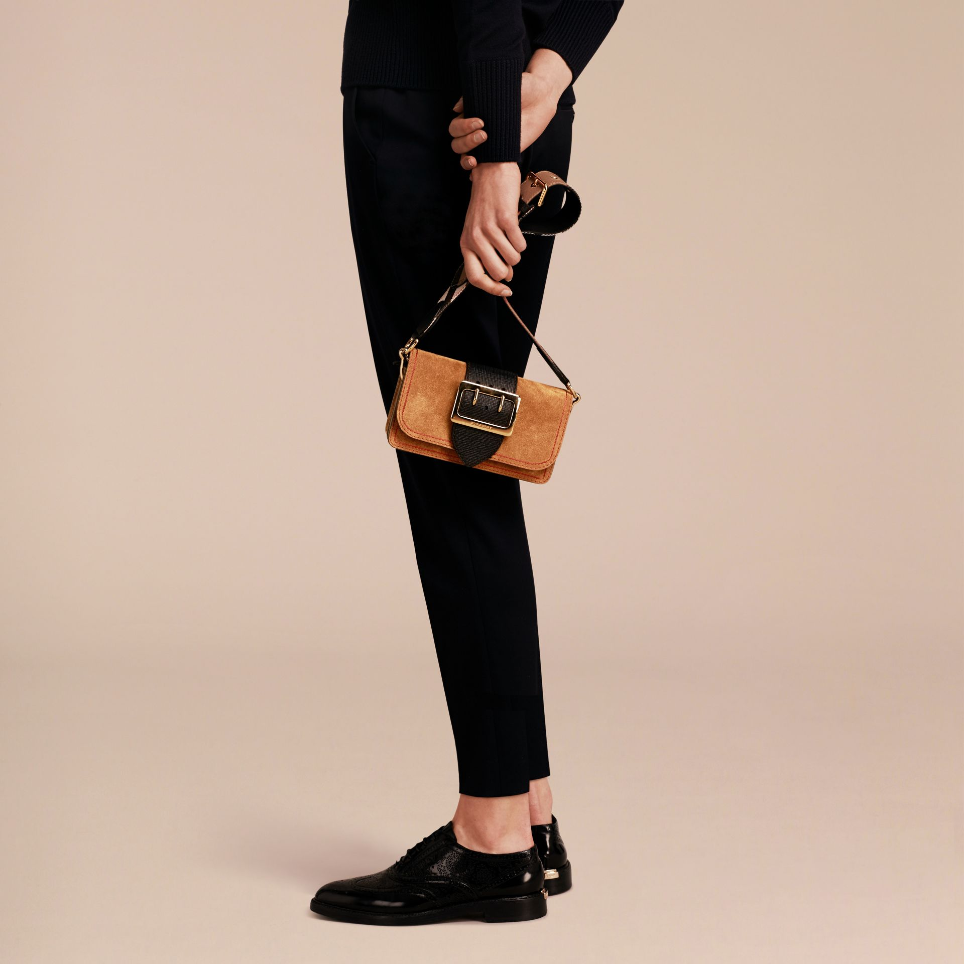 The Small Buckle Bag in Suede with Topstitching Bright Toffee/black - gallery image 3
