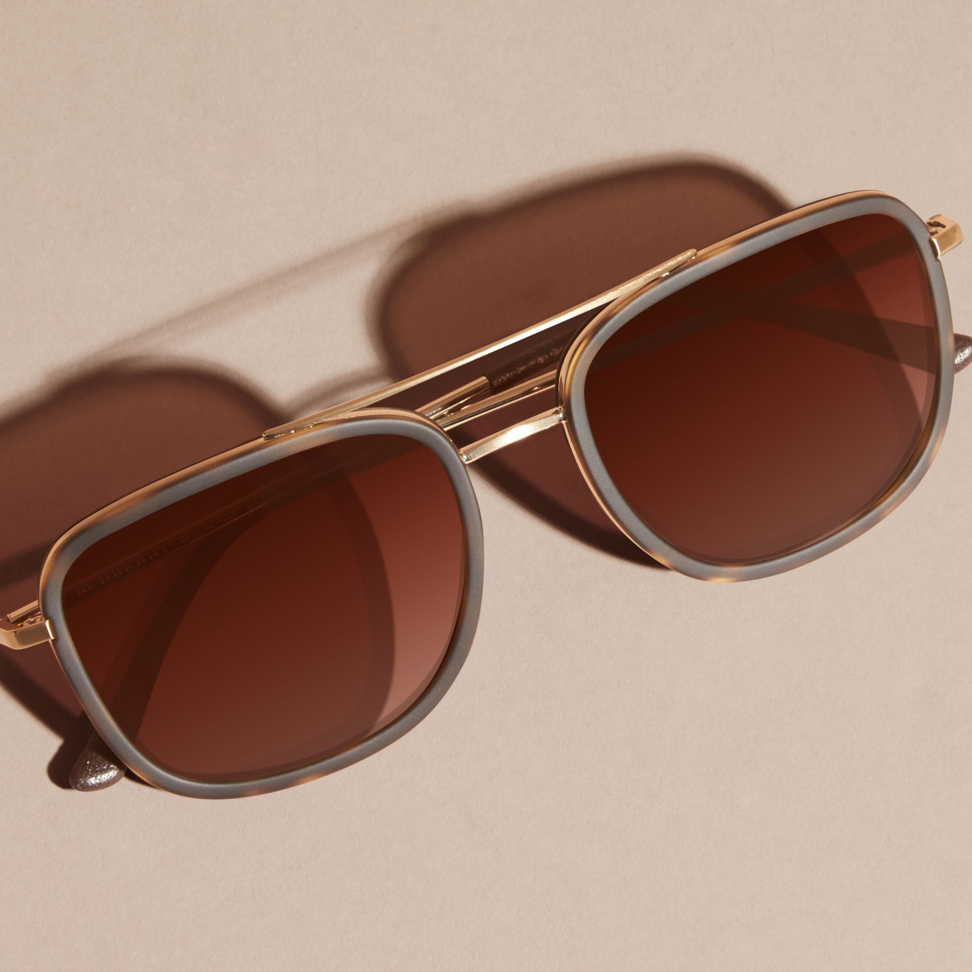 Glasses Leather Frame : Square Frame Acetate and Leather Sunglasses Tortoise Shell ...