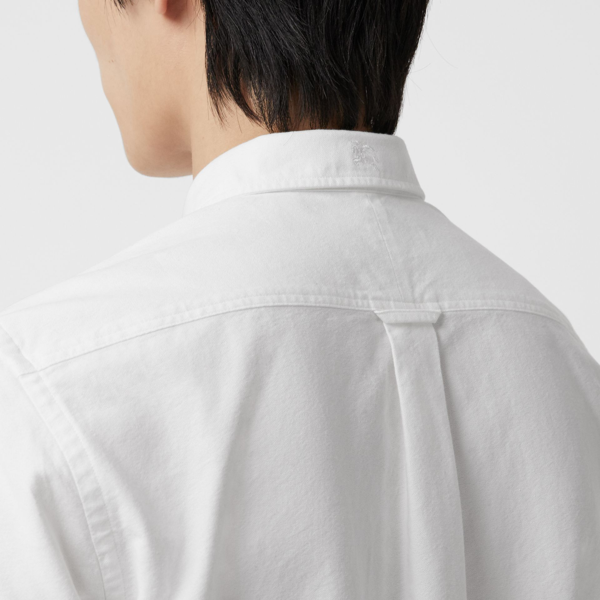 Short-sleeve Cotton Oxford Shirt in White - Men | Burberry Australia - gallery image 1