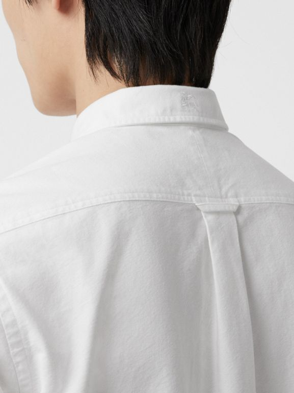 Short-sleeve Cotton Oxford Shirt in White - Men | Burberry Australia - cell image 1