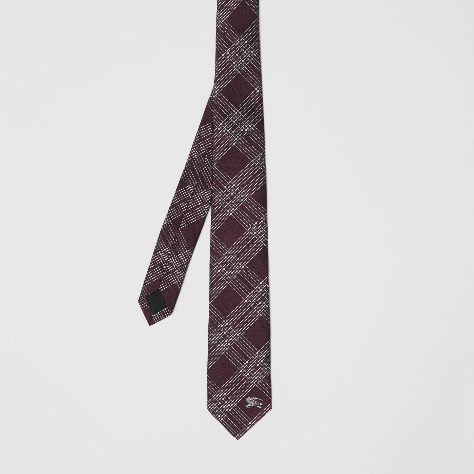 Modern Cut Check Silk Jacquard Tie in Dark Elderberry - Men | Burberry United Kingdom - gallery image 3