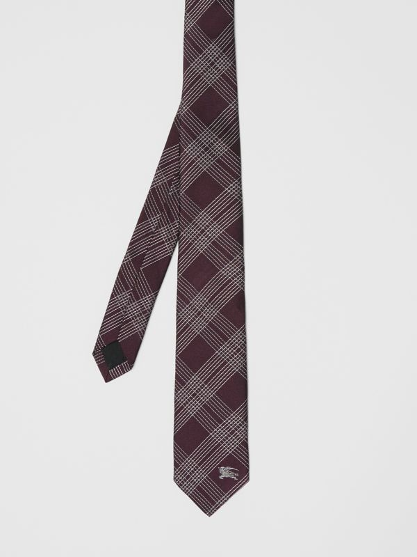 Modern Cut Check Silk Jacquard Tie in Dark Elderberry - Men | Burberry United Kingdom - cell image 3