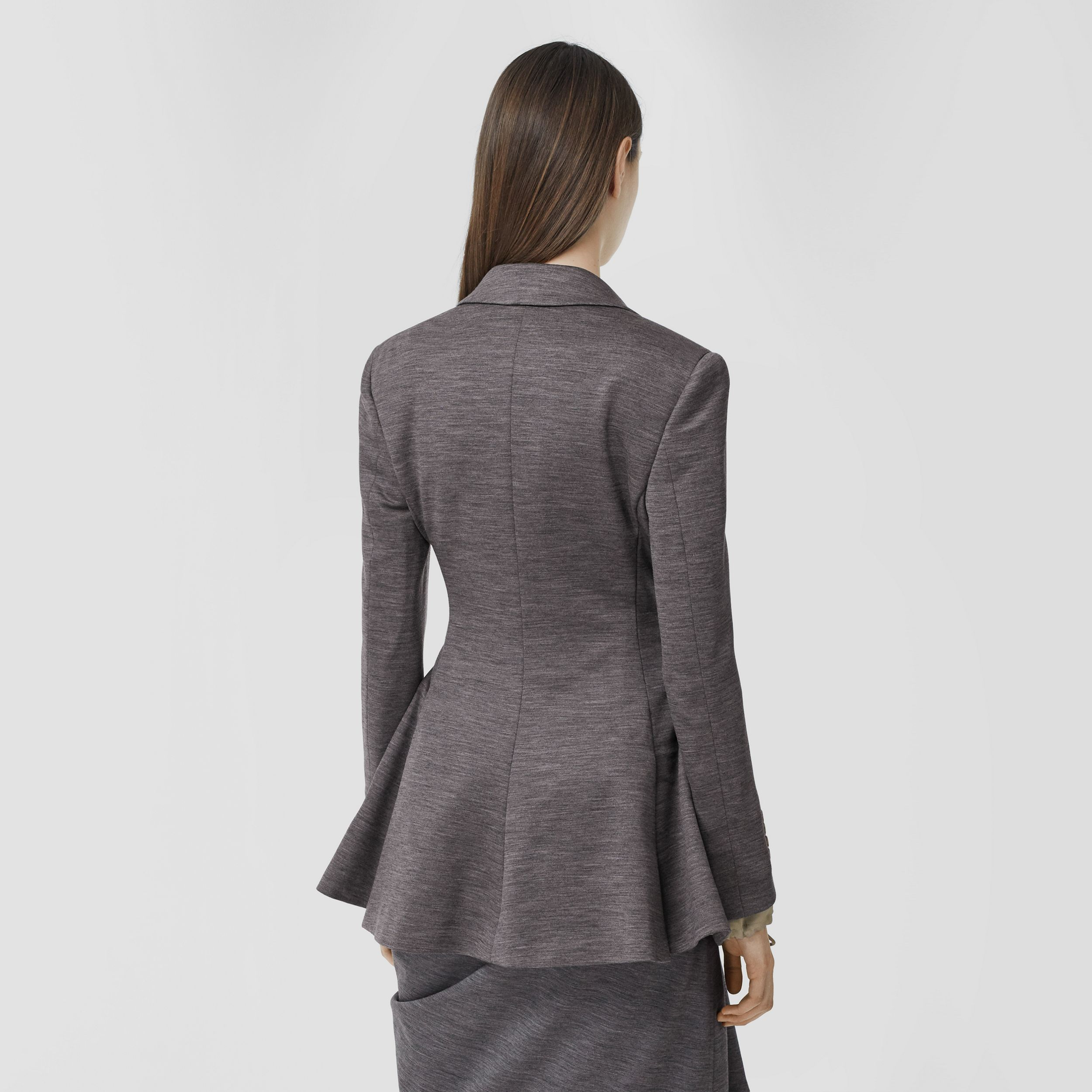 Silk Trim Technical Wool Blazer in Charcoal Grey - Women | Burberry Australia - 3