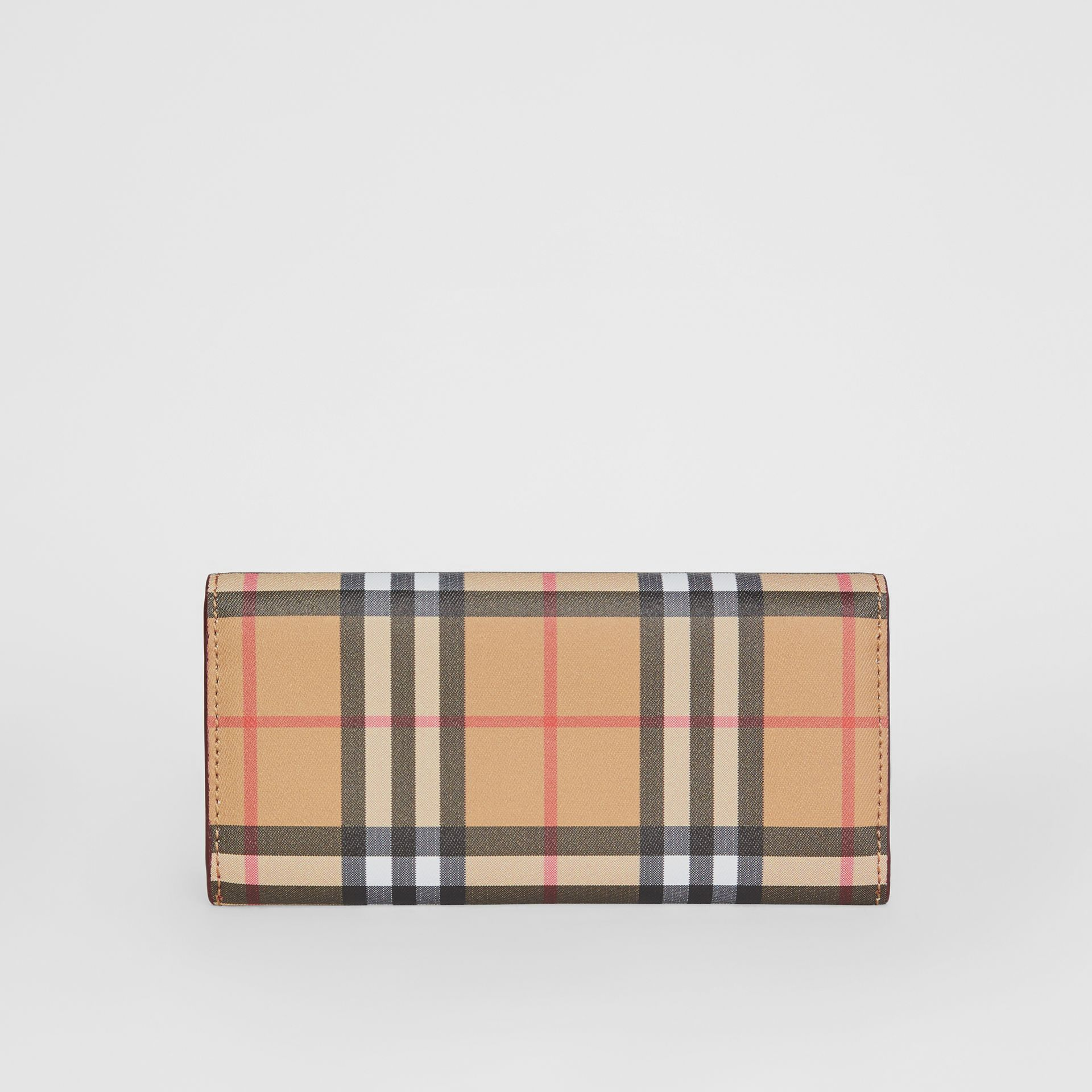 Vintage Check and Leather Continental Wallet in Crimson - Women | Burberry Singapore - gallery image 4