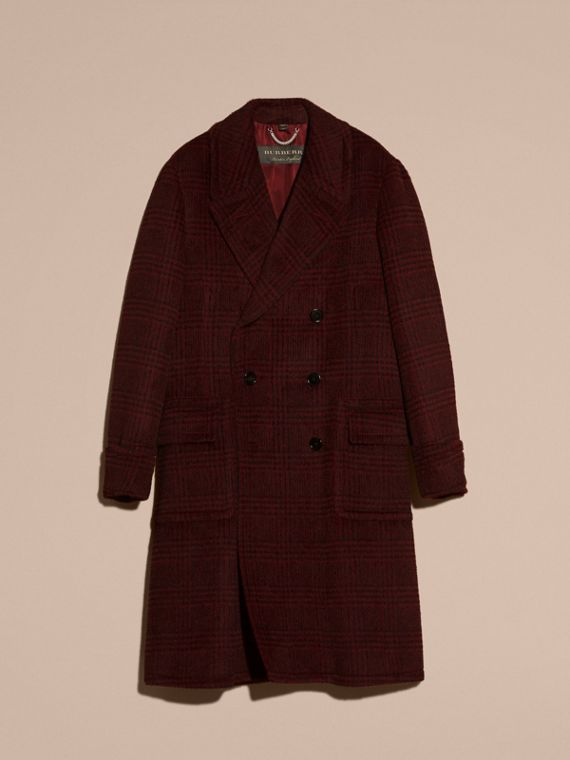 Dark crimson Brushed Prince of Wales Check Alpaca Wool Chesterfield - cell image 3