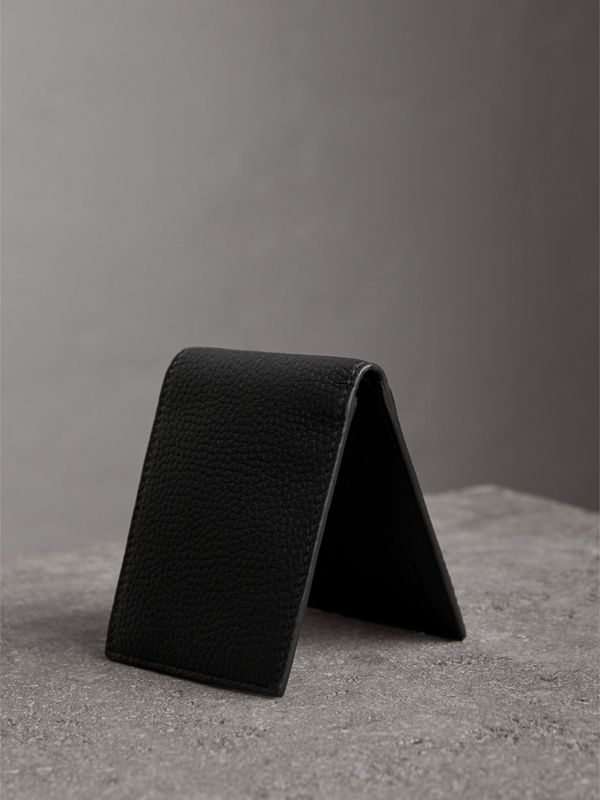 Textured Leather Bifold Wallet in Black - Men | Burberry - cell image 2