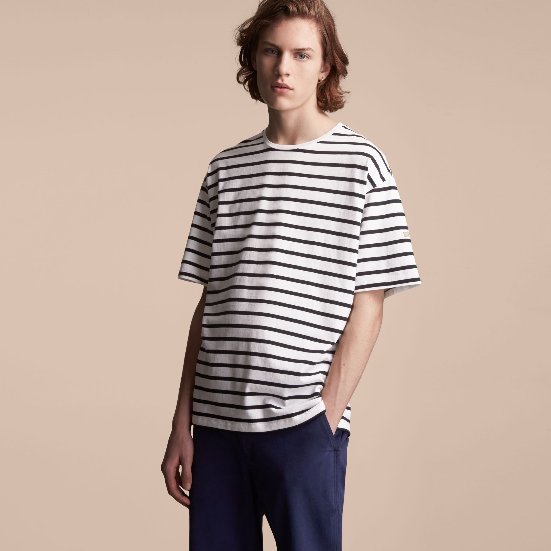 Striped Cotton Oversize T-shirt in White/black - Men | Burberry - gallery image 6