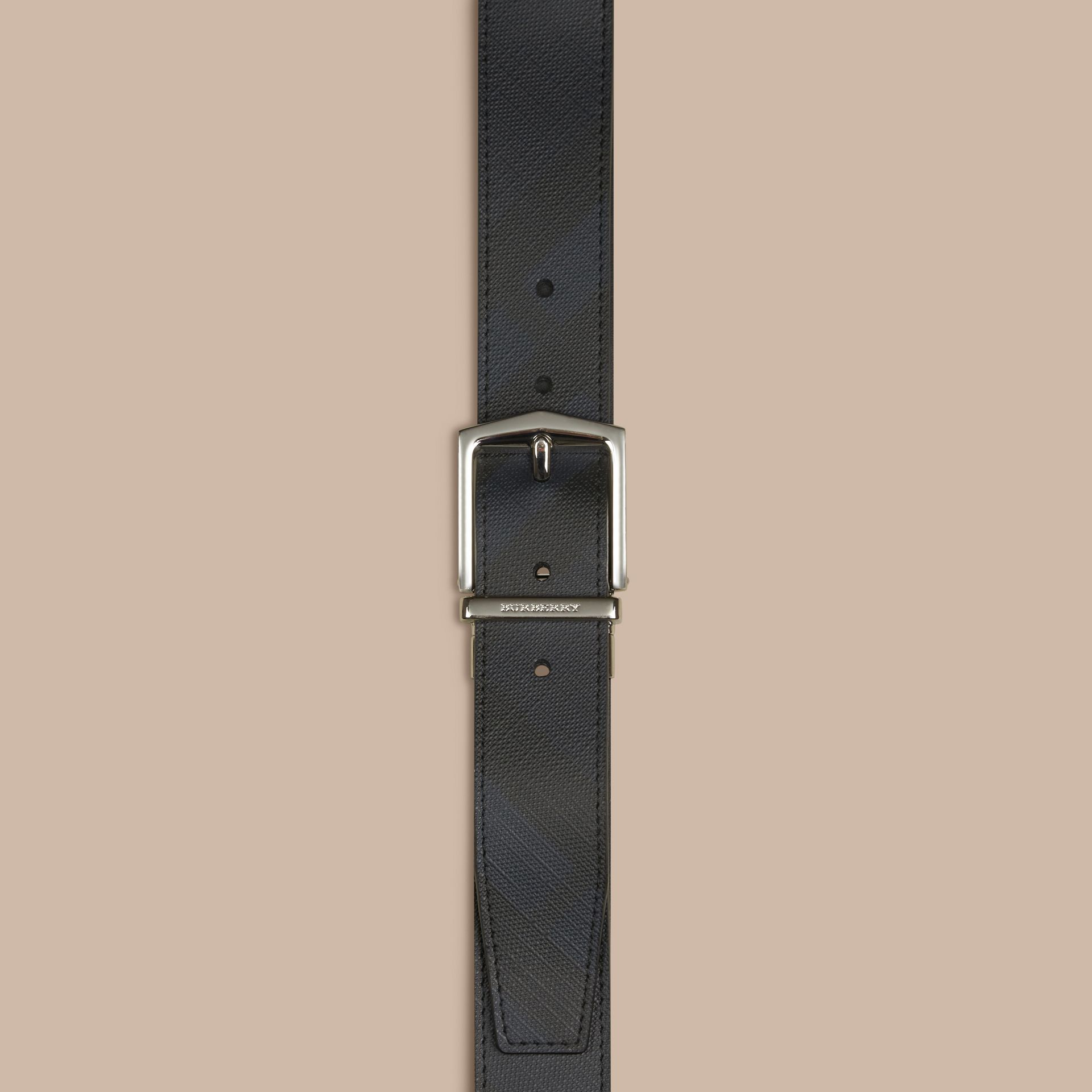 Reversible London Check and Leather Belt in Navy/black - gallery image 2