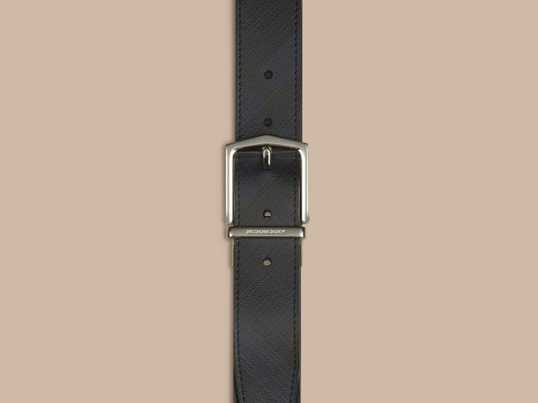 Reversible London Check and Leather Belt in Navy/black - cell image 1