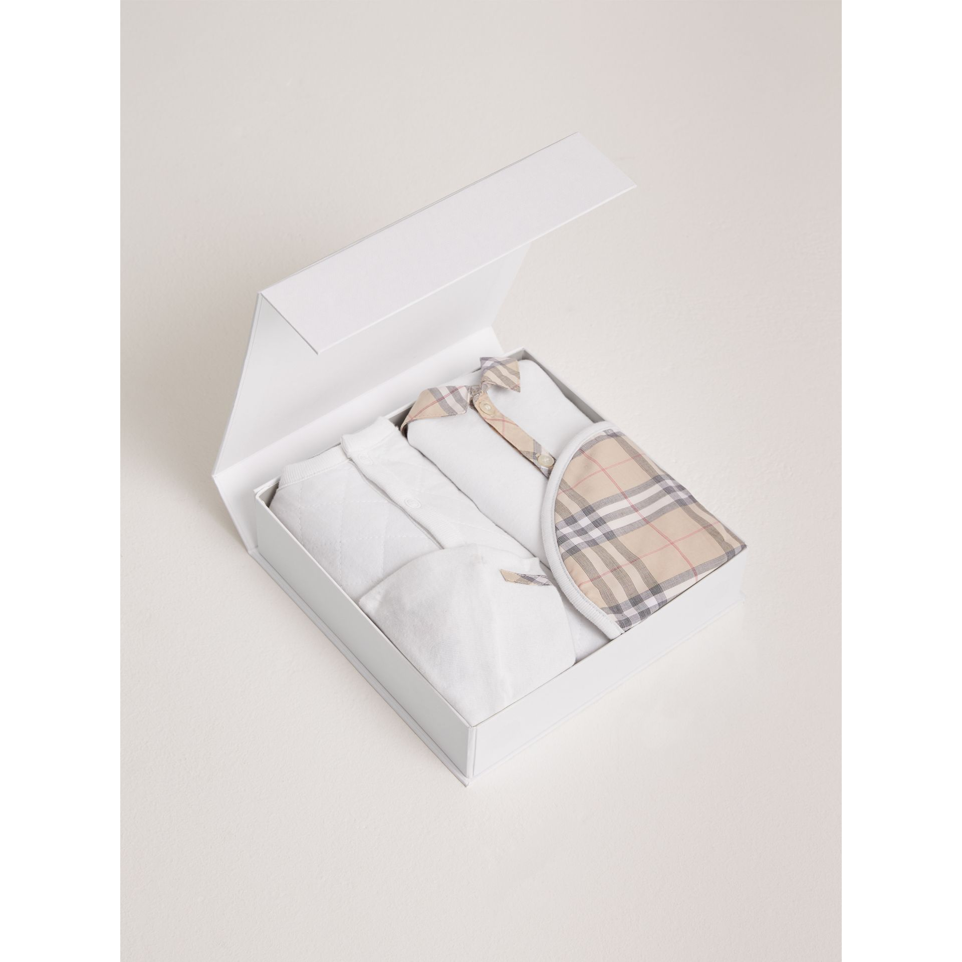 Check Detail Four-piece Baby Gift Set in White | Burberry Canada - gallery image 2