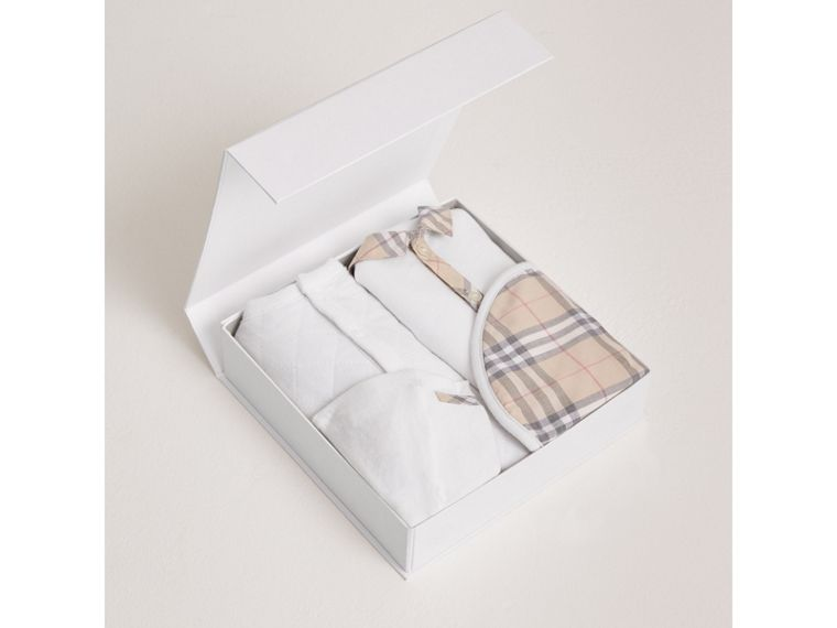 Check Detail Four-piece Baby Gift Set in White | Burberry Canada - cell image 2