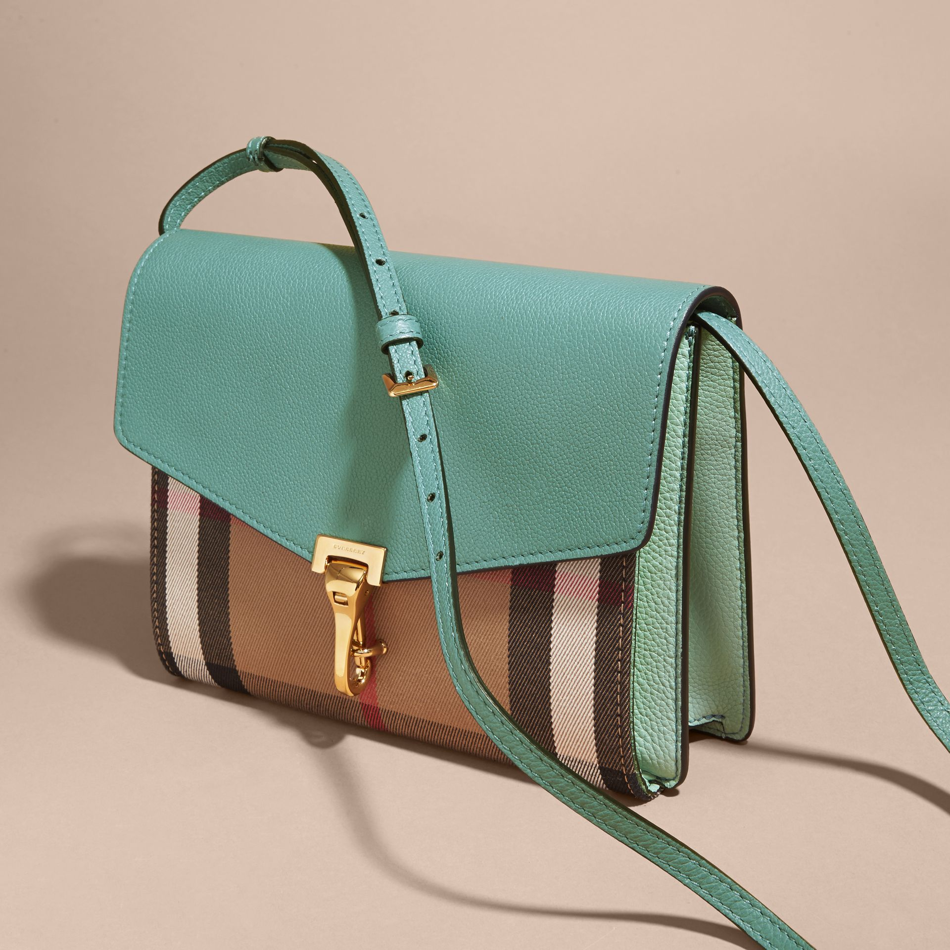 Small Leather and House Check Crossbody Bag Celadon Blue - gallery image 6