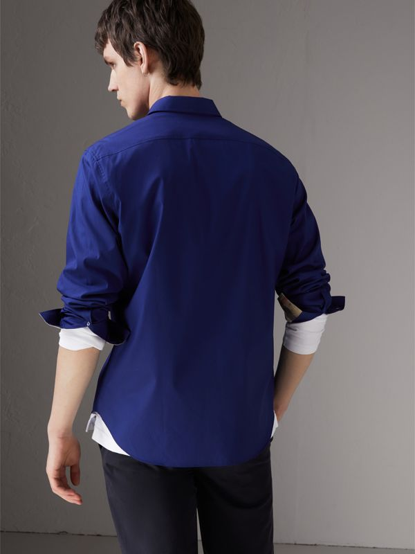 Check Detail Stretch Cotton Poplin Shirt in Bright Navy - Men | Burberry - cell image 2