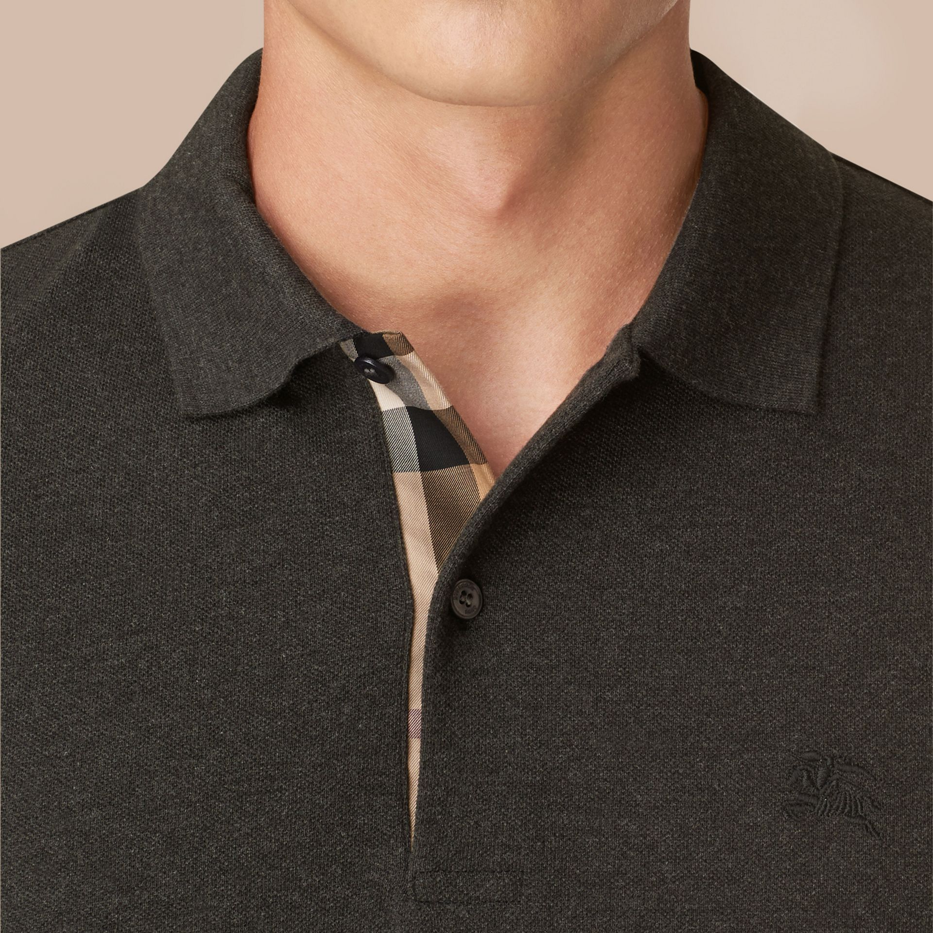 Dark charcoal melange Check Placket Long Sleeve Polo Shirt Dark Charcoal Melange - gallery image 4