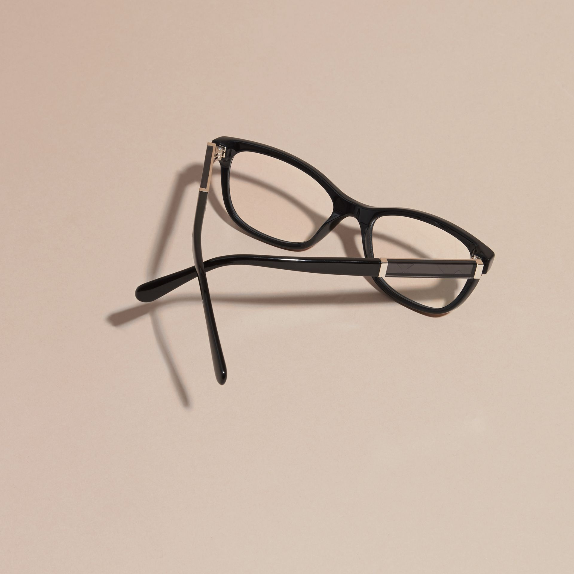 Check Detail Oval Optical Frames in Black - gallery image 4