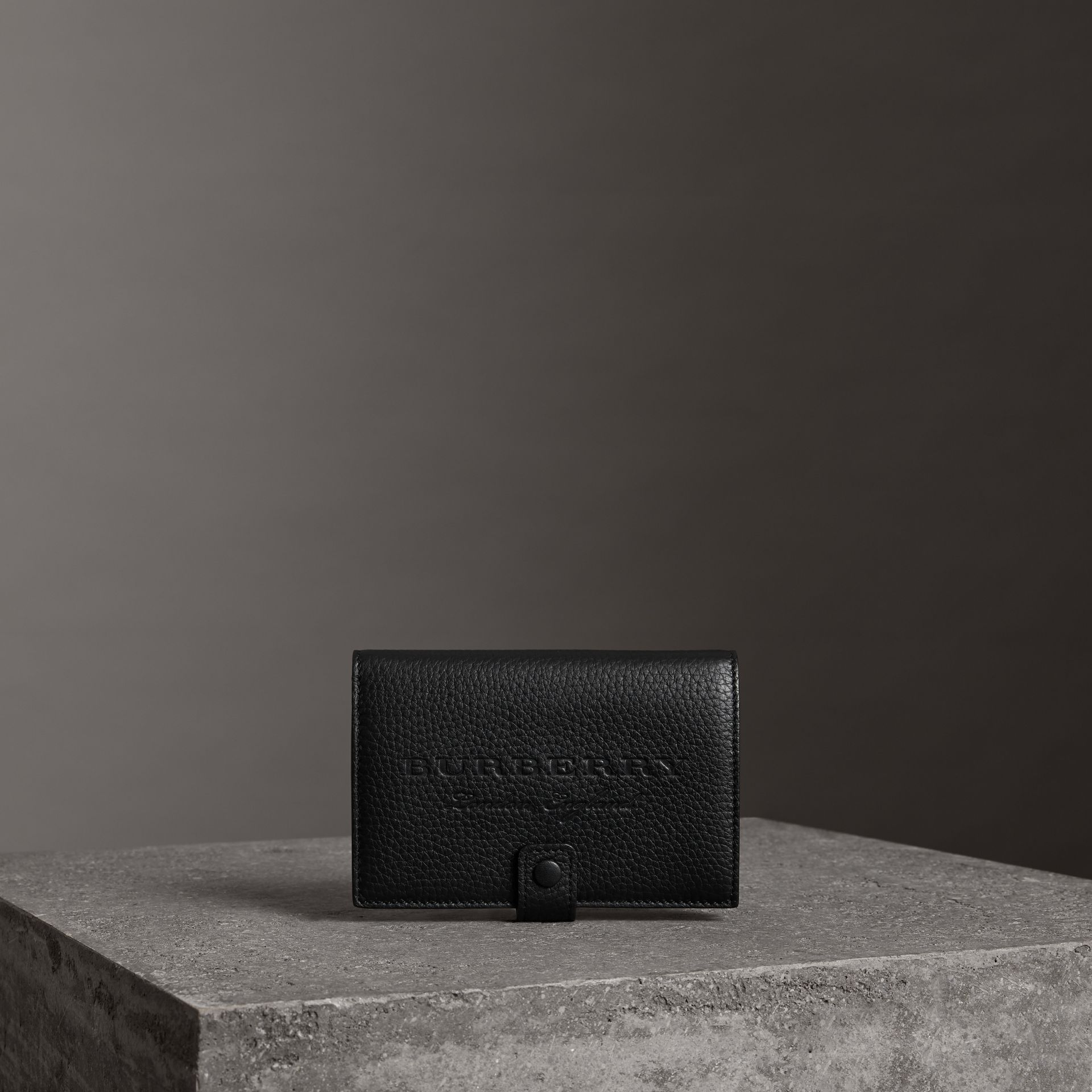 Embossed Grainy Leather Folding Wallet in Black - Women | Burberry - gallery image 0
