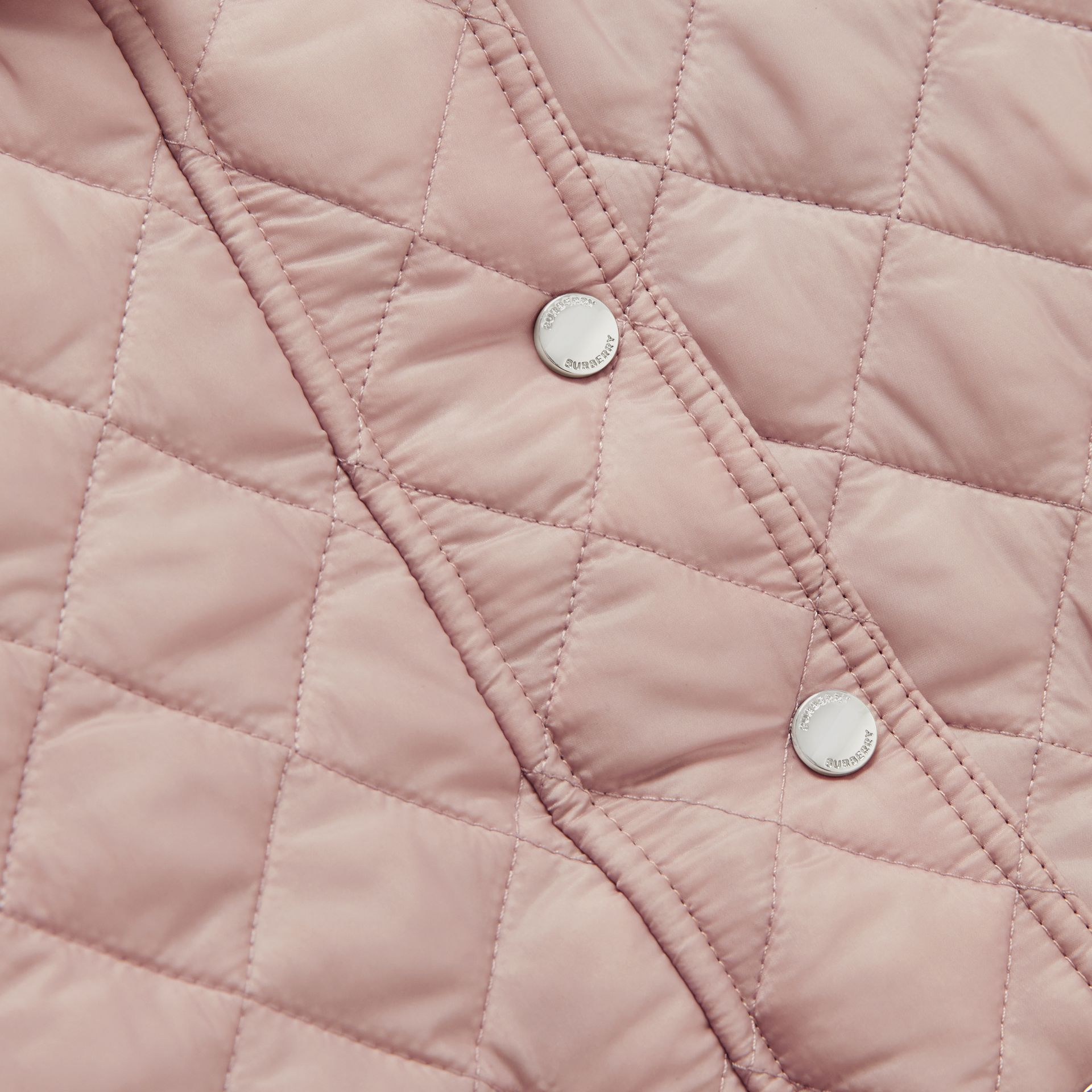 Detachable Hood Diamond Quilted Jacket in Ice Pink - Children | Burberry - gallery image 1