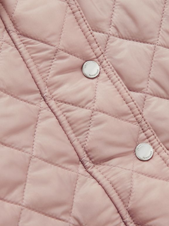 Detachable Hood Diamond Quilted Jacket in Ice Pink - Children | Burberry - cell image 1