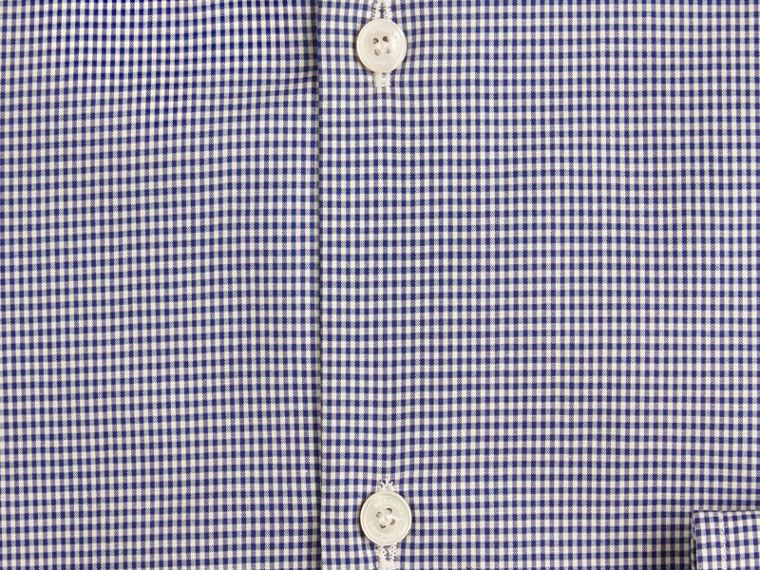 Slim Fit Button-down Collar Gingham Cotton Poplin Shirt in Dark Empire Blue - cell image 1