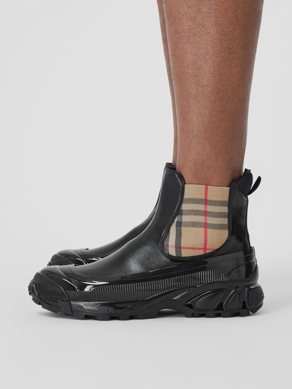 Vintage Check Detail Coated Canvas Chelsea Boots in Black - Men | Burberry - cell image 2