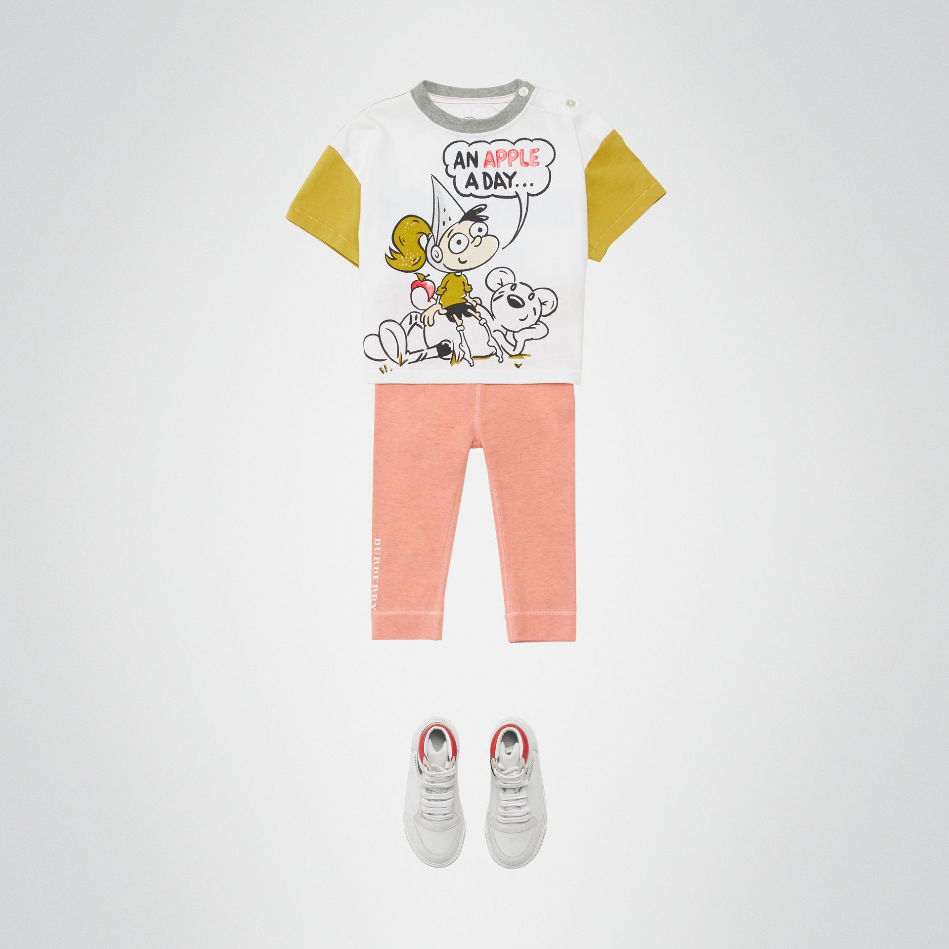 Cartoon Print Cotton T-shirt in Natural White - Children | Burberry United Kingdom - gallery image 3