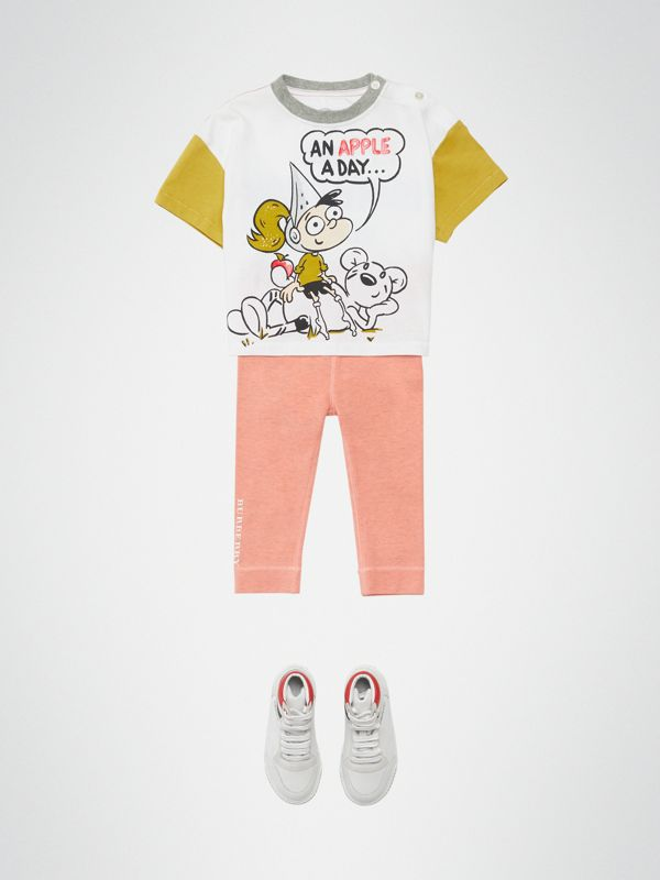 Cartoon Print Cotton T-shirt in Natural White - Children | Burberry United Kingdom - cell image 3