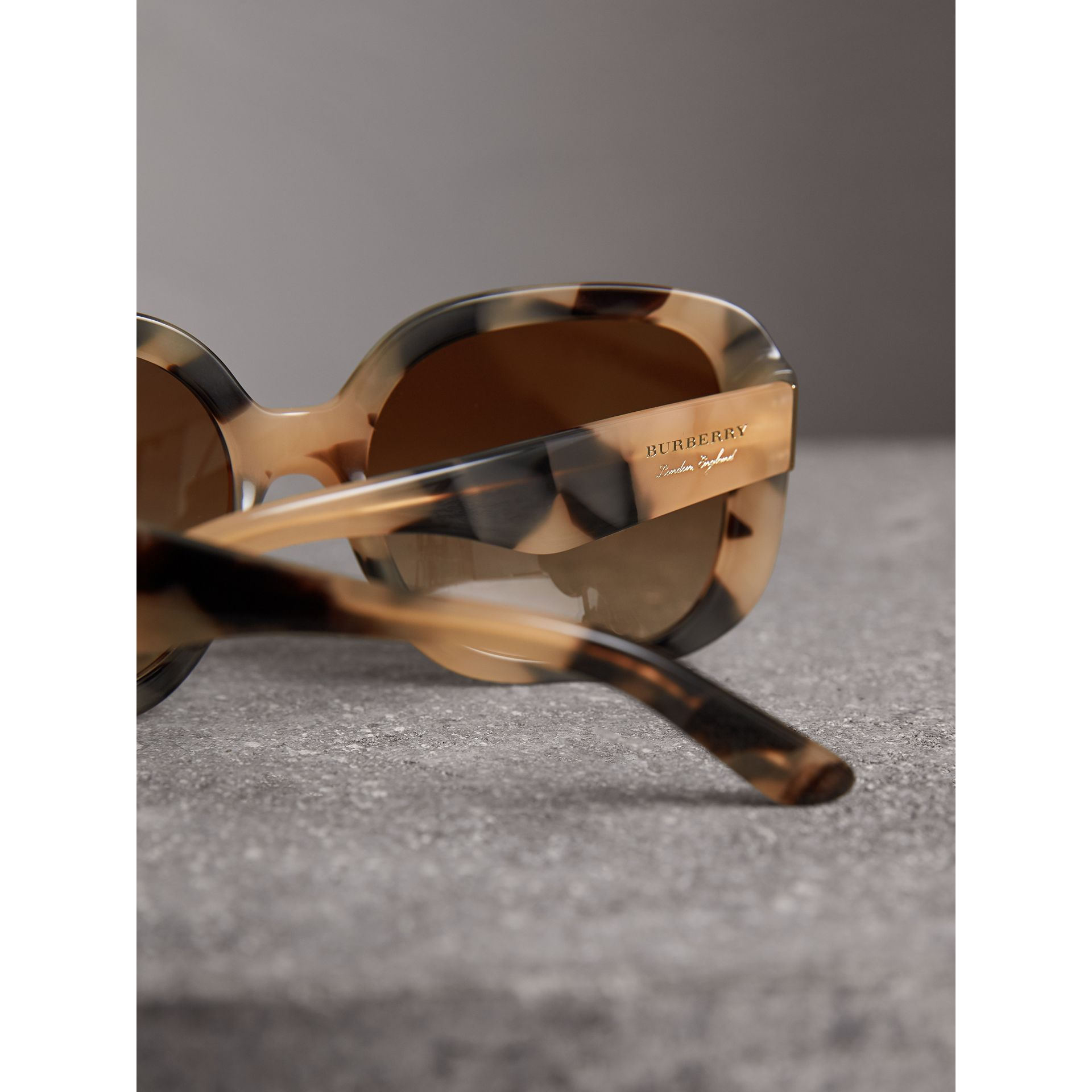 Square Frame Sunglasses in Honey - Women | Burberry United States - gallery image 2