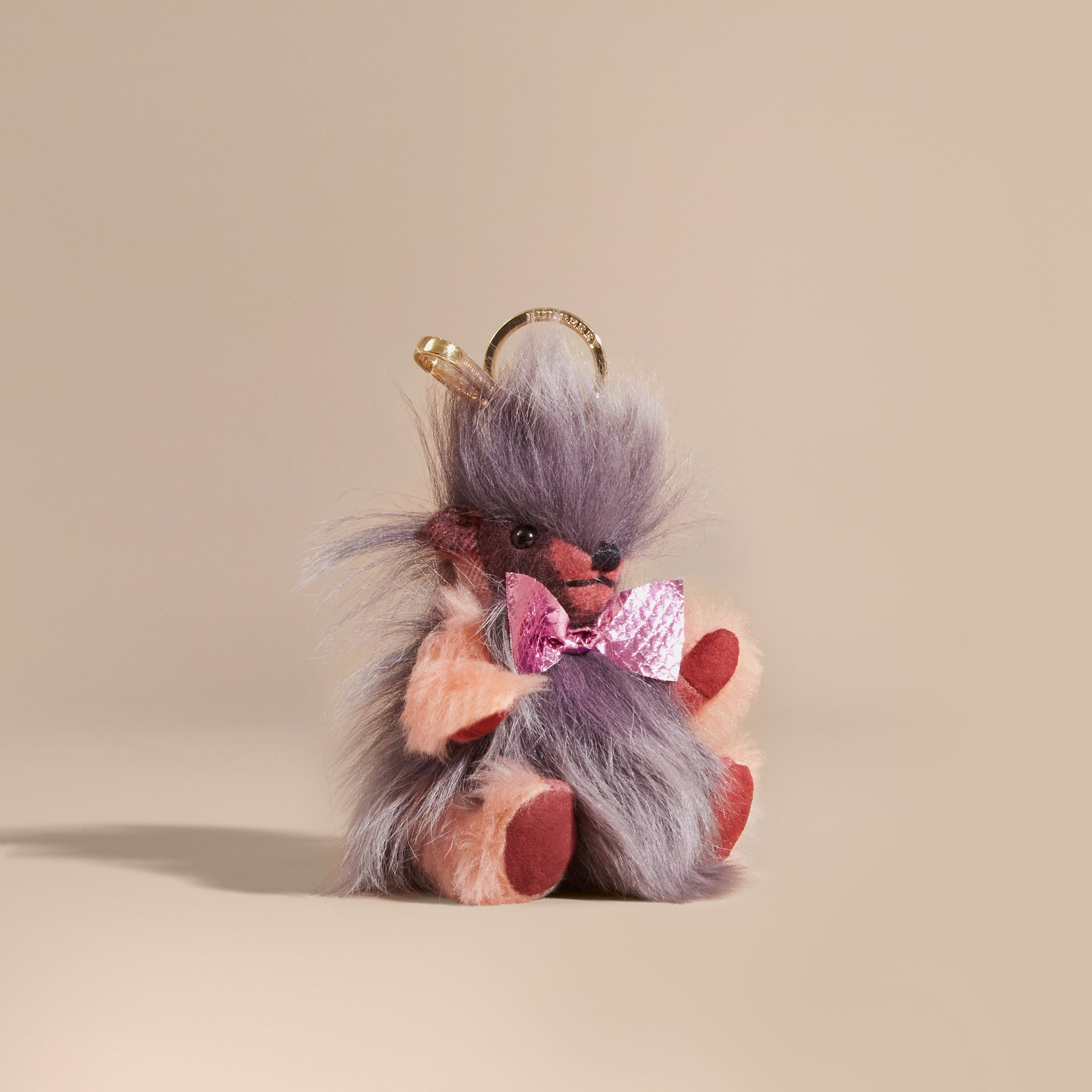 Thomas Bear Pom-Pom Charm in Check Cashmere in Rose Pink - gallery image 1