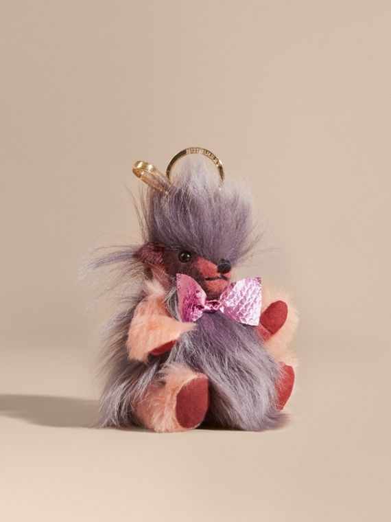 Thomas Bear Pom-Pom Charm in Check Cashmere in Rose Pink
