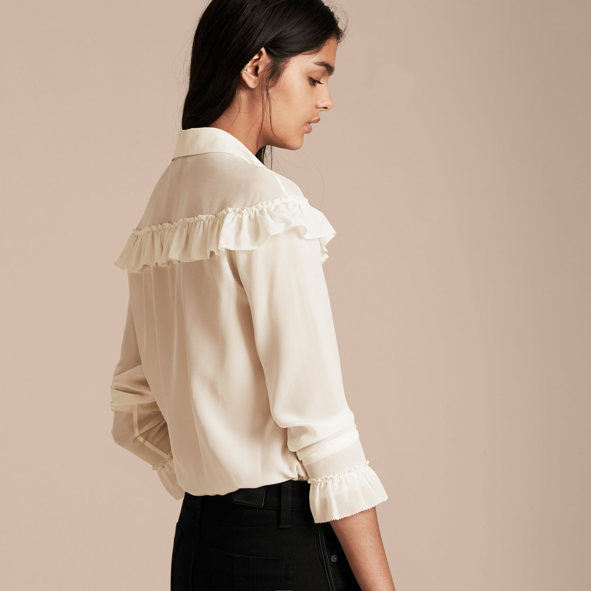 Frill Detail Silk Crepe De Chine Shirt in Natural White - gallery image 3