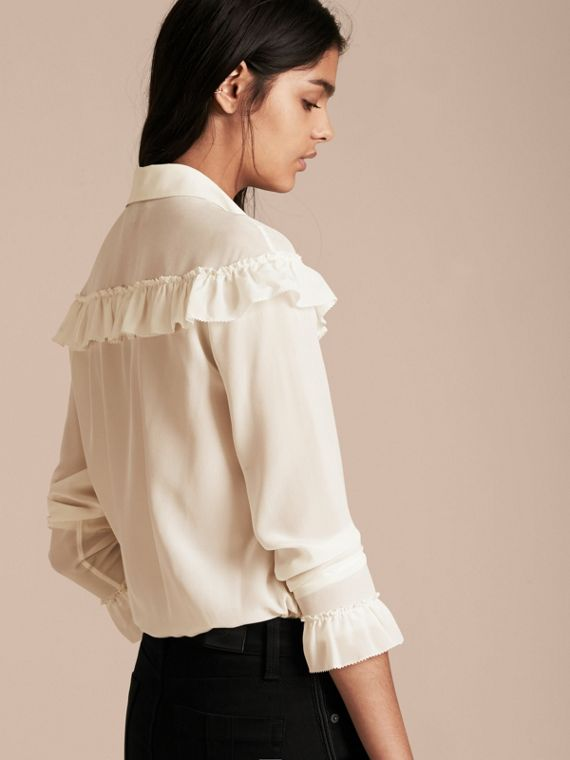 Frill Detail Silk Crepe De Chine Shirt in Natural White - cell image 2