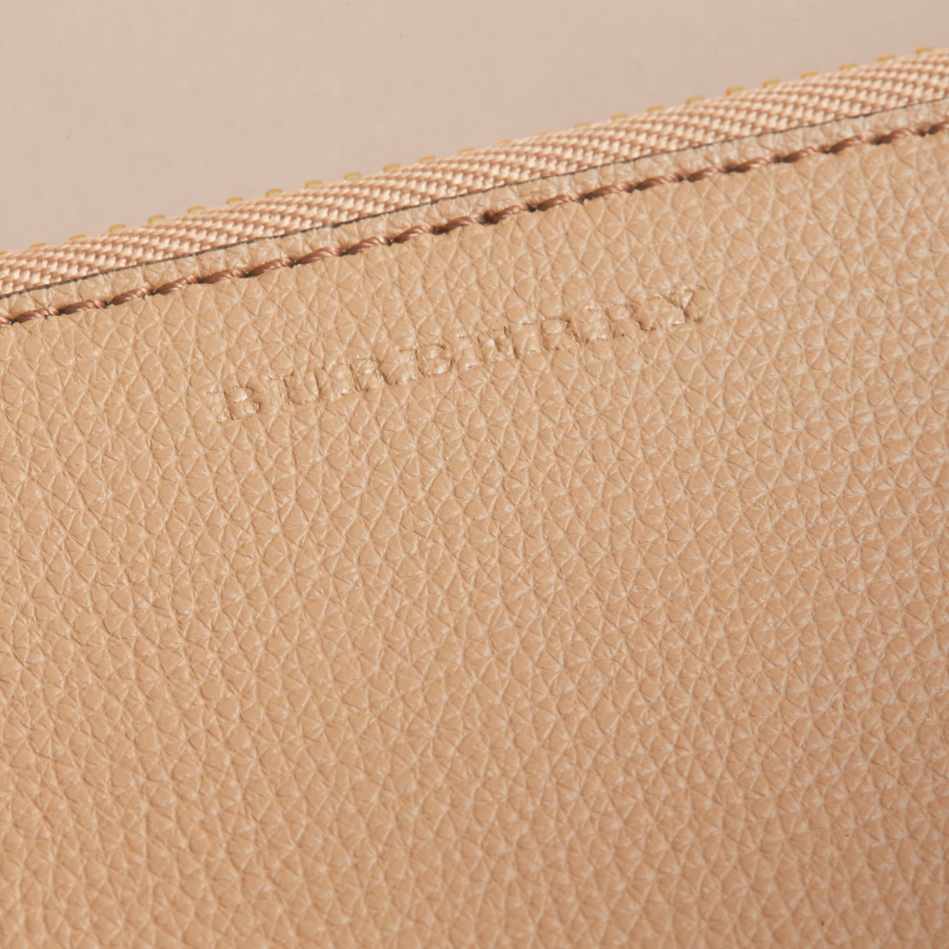 Haymarket Check and Leather Pouch in Mid Camel - Women | Burberry Singapore - gallery image 2