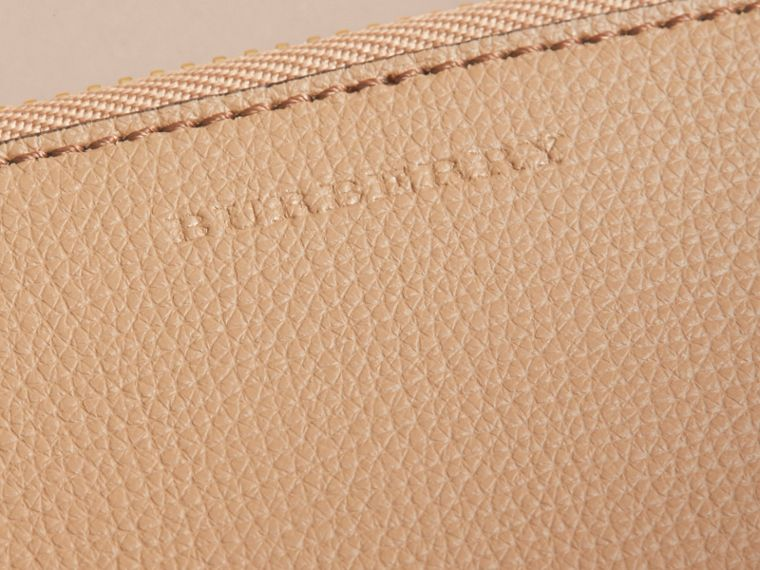 Haymarket Check and Leather Pouch in Mid Camel - Women | Burberry Australia - cell image 1