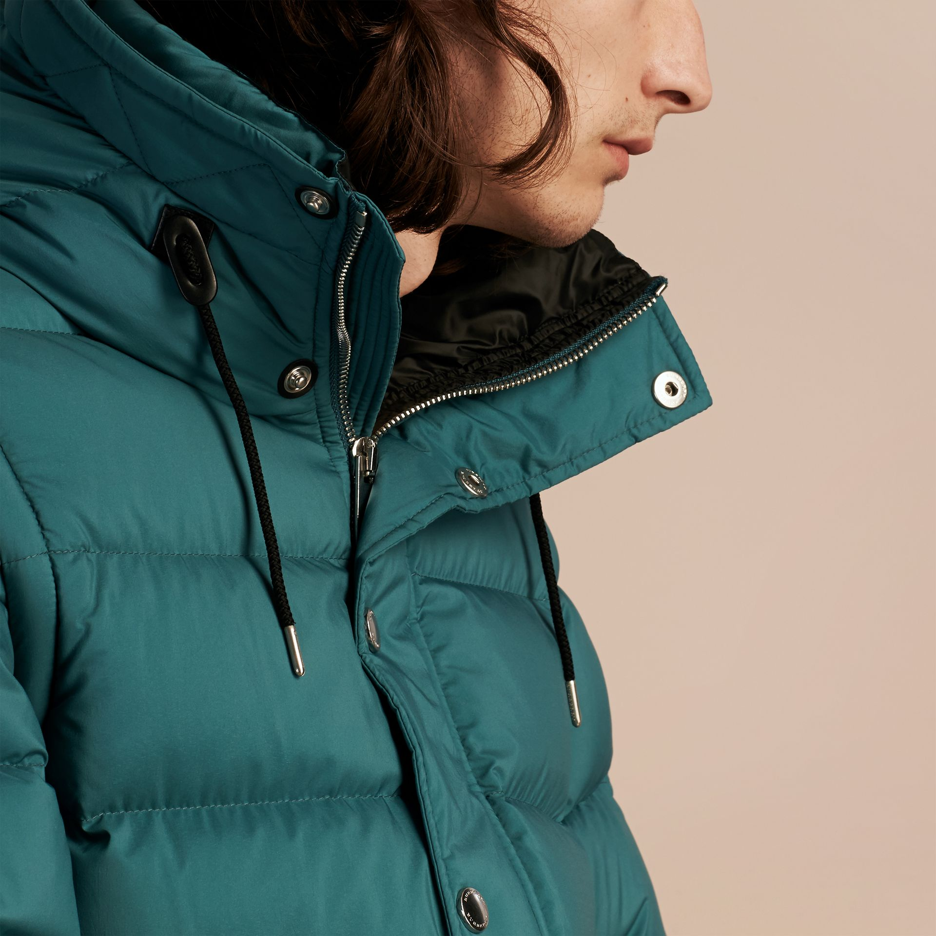 Down-filled Hooded Jacket with Detachable Sleeves in Dusty Teal - gallery image 6