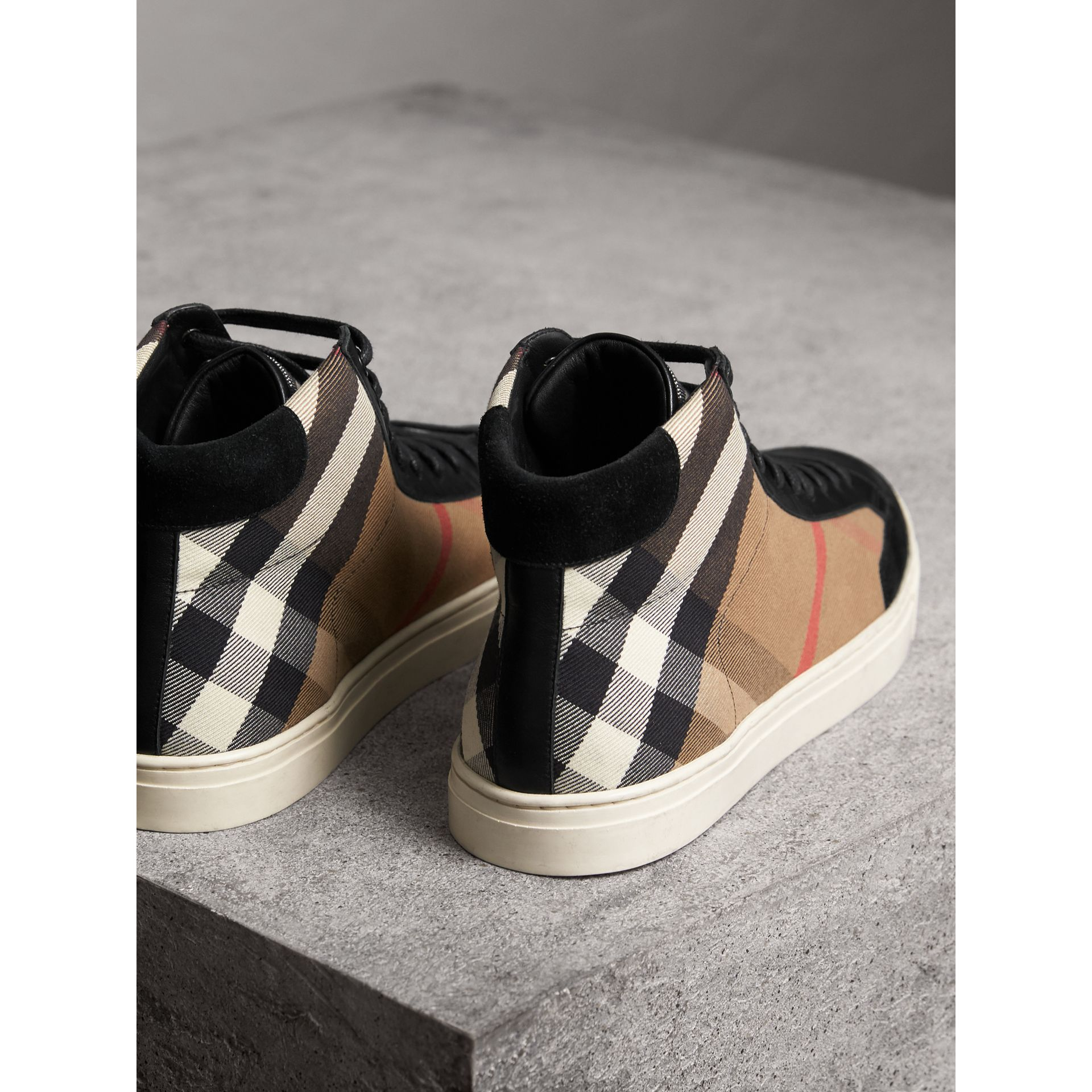 House Check and Leather High-top Trainers in Black - Men | Burberry - gallery image 4
