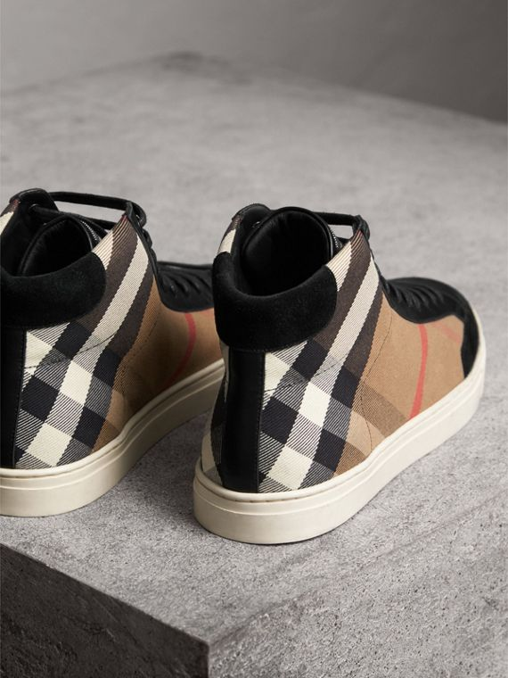 Tennis montantes House check avec cuir (Check/noir) - Homme | Burberry - cell image 3