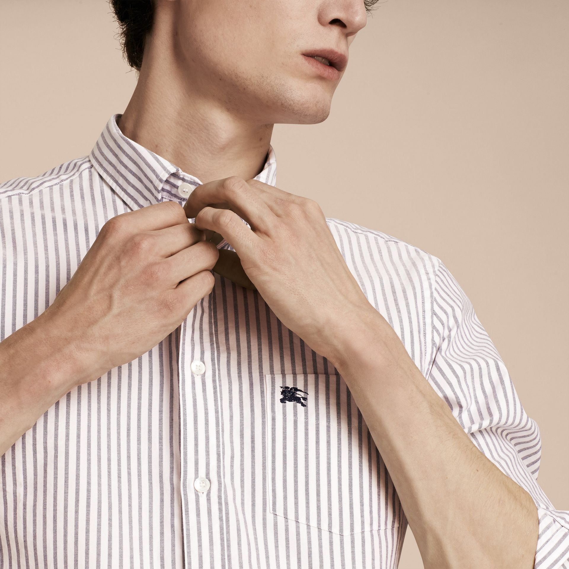 Button-down Collar Oxford Stripe Cotton Shirt in Navy - gallery image 5
