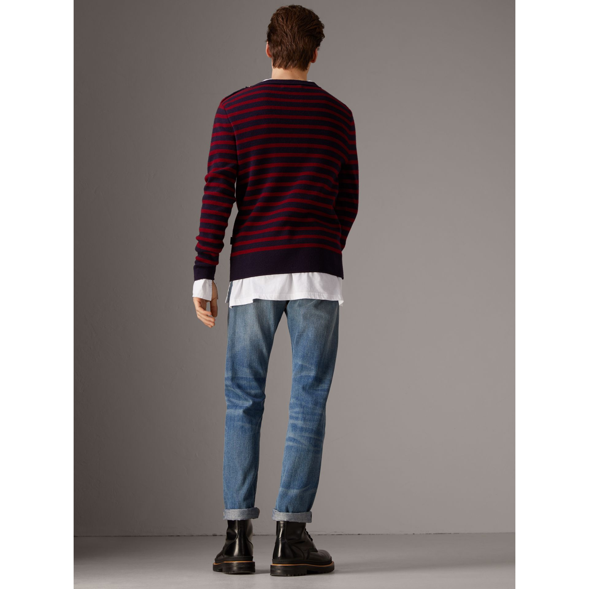 Bird Button Breton Stripe Wool Cashmere Sweater in Navy/deep Claret - Men | Burberry - gallery image 2